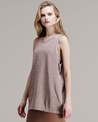 Sleeveless Cotton-Metallic Tank