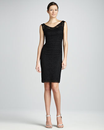 Lace V-Neck Dress, Black