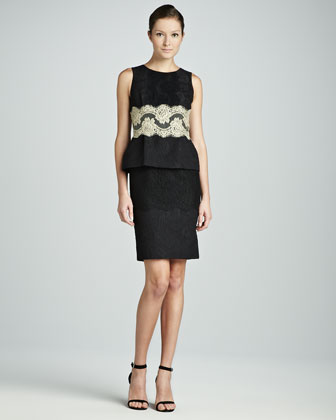 Contrast Lace Peplum Sheath Dress, Black