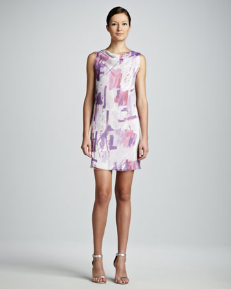 Painterly Printed Sheath Dress