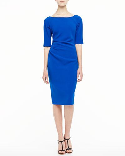 Deedie 3/4-Sleeve Side Ruched Dress, Cobalt