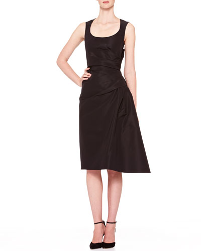 Side-Gathered Taffeta Dress, Black