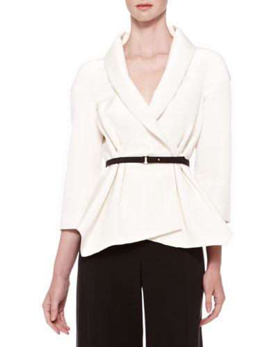 Belted Silk Wrap Blouse, Ivory