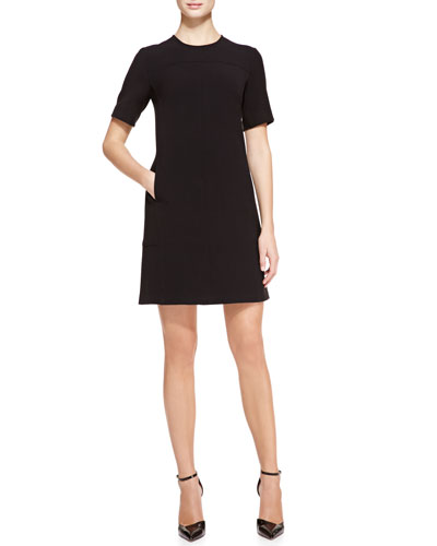 Short-Sleeve Seamed Tunic Dress, Black