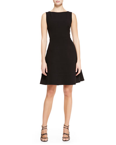 Boat-Neck Dress with Full Skirt, Black