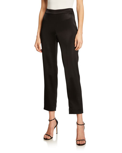 Liquid Satin Side Zip Cropped Pants