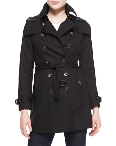 Reymoore Double-Breasted Hooded Trench Coat