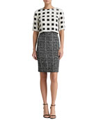 Sparkle Check Knit Elbow Sleeve Dress with Hand-Beaded Paillettes