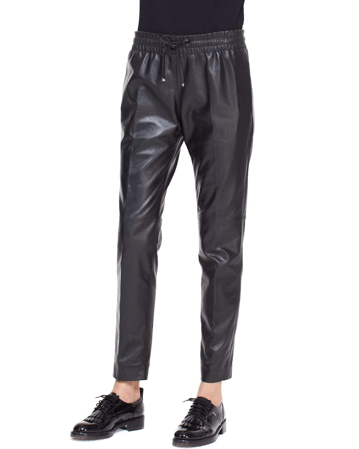 Leather Track Pants with Drawstring, Black