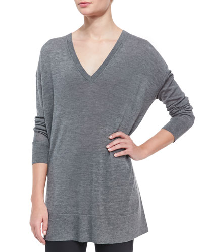 Amherst Long-Sleeve Oversized V-Neck Sweater, Gray