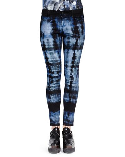 Tie-Dye Skinny Ankle Jeans, Dark Blue