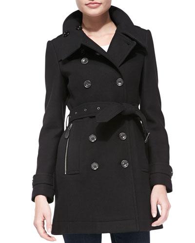 Daylesmoore Wool-Blend Zip-Pocket Trench Coat, Black
