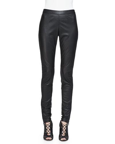 Side-Paneled Leather Leggings, Black