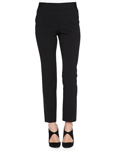 Elastic-Waist Slim Pants, Black