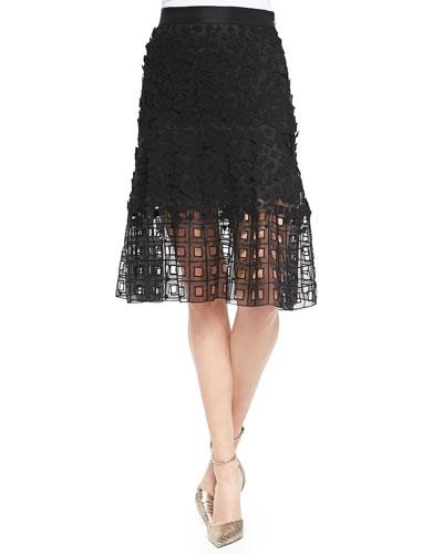 Lace Eyelet-Hem Skirt