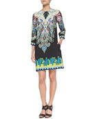3/4-Sleeve Paisley & Floral Shift Dress
