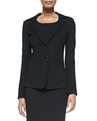 Milano Pique Knit Fitted Blazer, Caviar