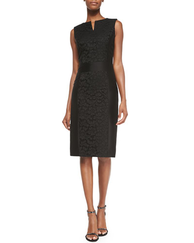 Floral-Lace Accent Sheath Dress, Black