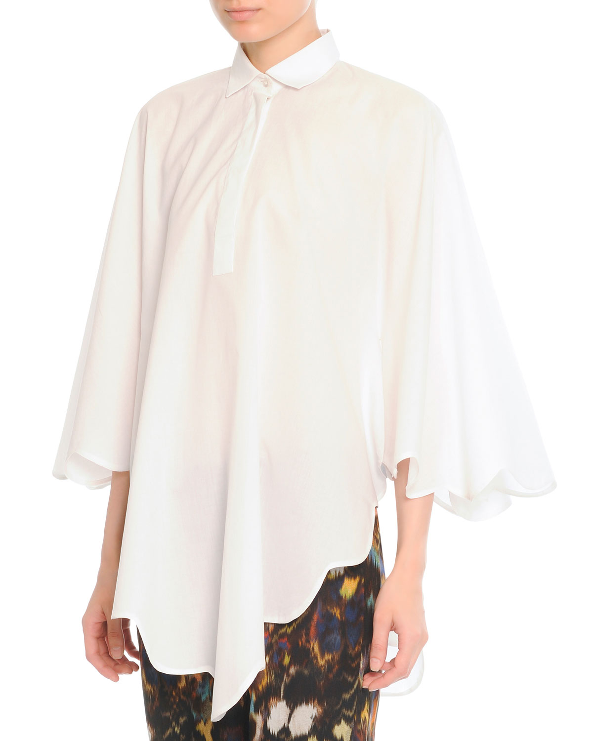 SCALLOP CAPE BLOUSE