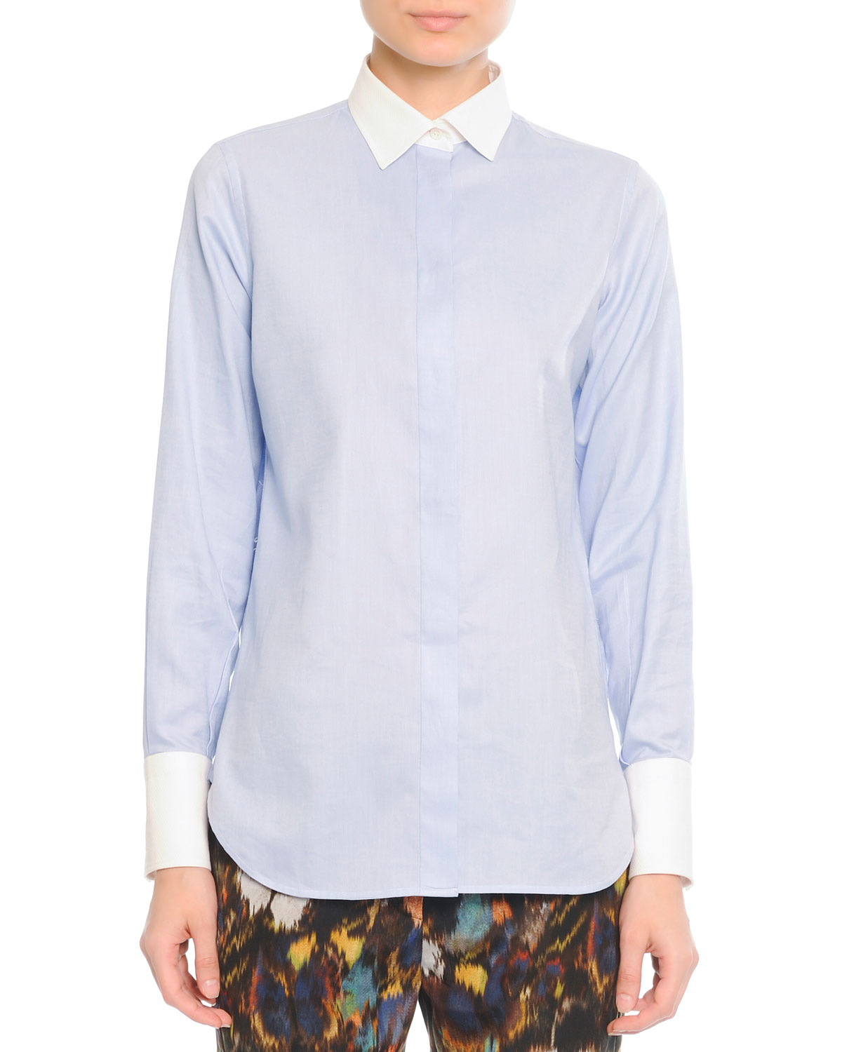 White-Cuff-and-Collared Cotton Blouse