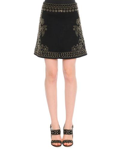 Metal Beaded Suede Skirt