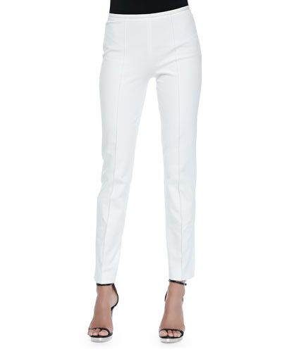 Side-Zip Skinny Pants, Optic White