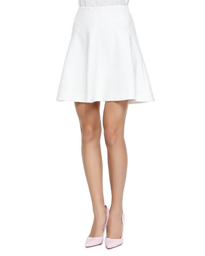 Silk-Trim A-Line Skirt, Ivory