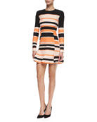 Striped Long-Sleeve Pleated Skirt Dress