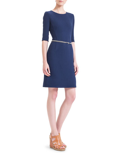 Double-Faced Wool Crepe Dress, Azurite