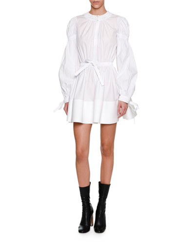 Blouson-Sleeve Tie-Waist Minidress, White