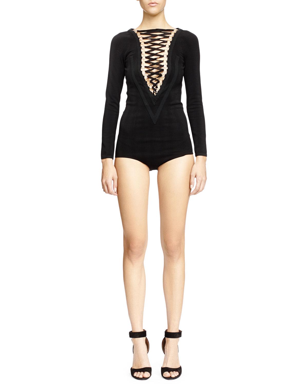 V-Seamed Lace-Up Bodysuit, Black