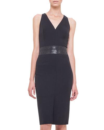 Swarovski Crystal-Embellished Sheath Dress, Black