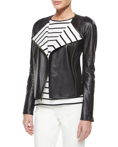 Luxe Napa Leather Striped-Lapel Jacket