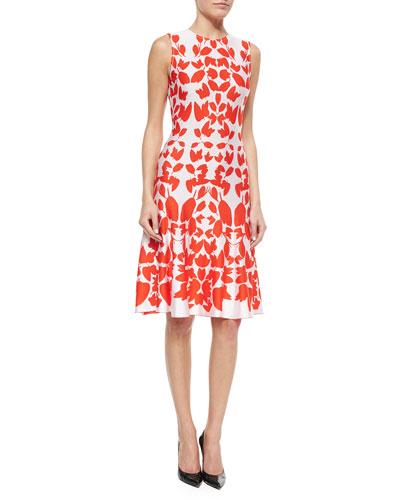Mirrored Floral Jacquard Knit Dress