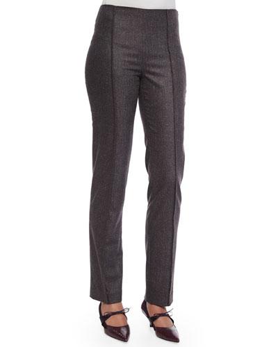 Pintucked Skinny-Fit Melange Wool Pants, Charcoal