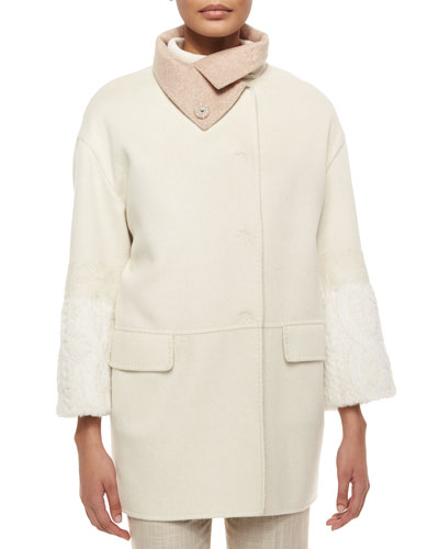 Rabbit-Sleeve Funnel-Collar Cashmere Coat