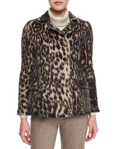 Leopard Jacquard Peacoat