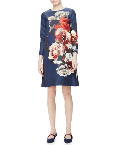 Floral Bouquet-Print Faille Shift Dress