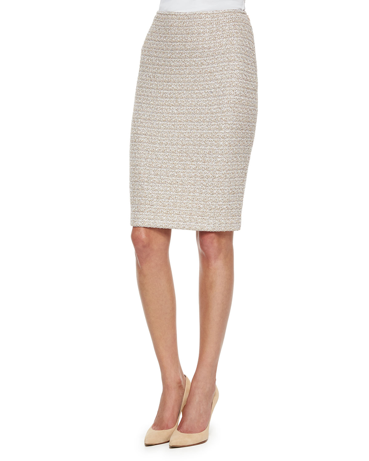 Organic Texture Tweed Pencil Skirt