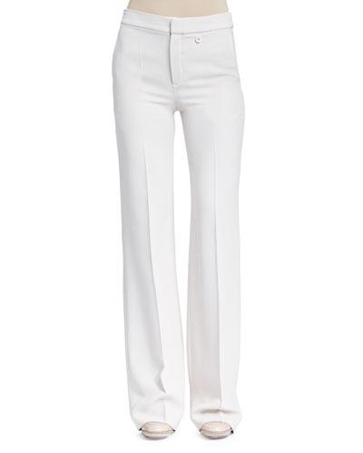 Crepe Sable Flare-Leg Pants, Light Gray