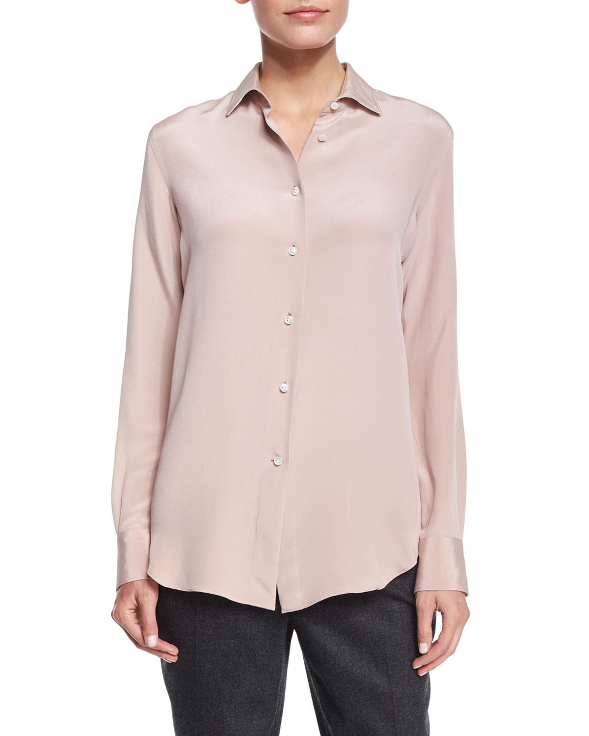 Classic Charmeuse Button Blouse, Spanish Pink