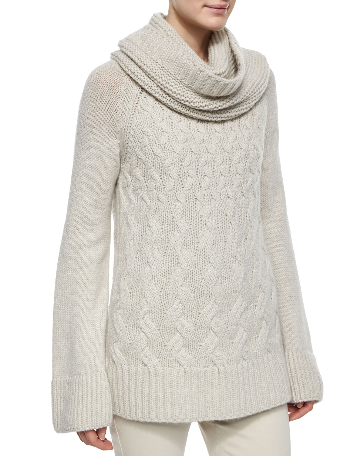 Cashmere Chunky Cable-Knit Tunic Sweater
