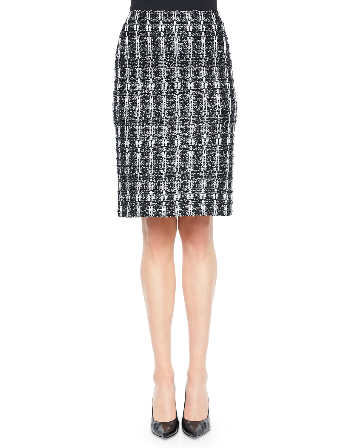 Textured Sparkle Tweed Pencil Skirt