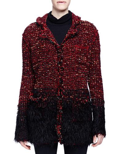 Boucle-Knit Faux-Fur-Trimmed Coat