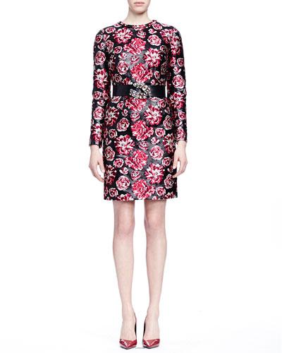 Bracelet-Sleeve Floral-Jacquard Sheath Dress