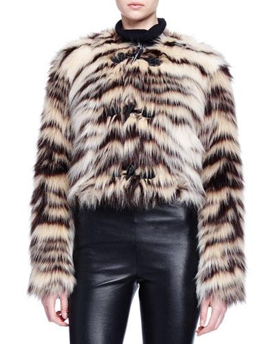 Zebra-Striped Faux-Fur Toggle Jacket