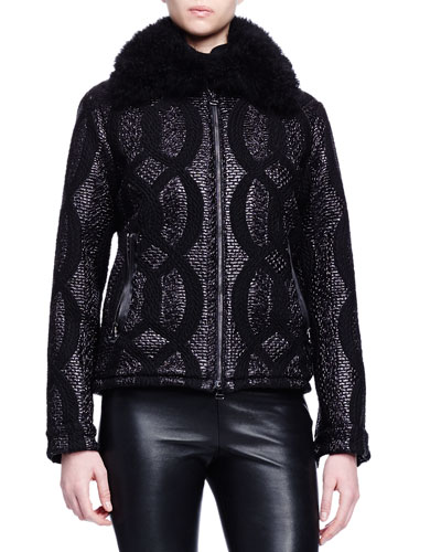 Shearling Fur-Trimmed Cable-Jacquard Jacket