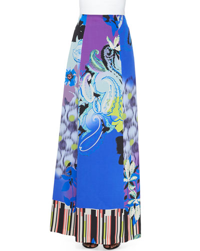 Orchid-Print A-Line Maxi Skirt