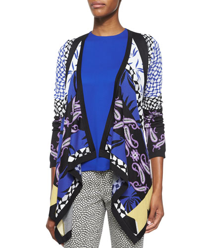 Geometric Intarsia Knit Cardigan
