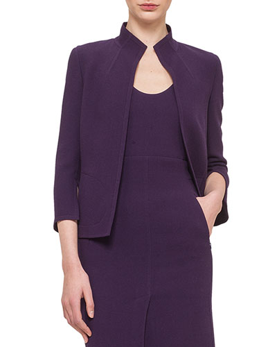 Double-Faced Crepe Short Jacket